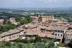 Vue aérienne de San Gimignano, Italie Images libres de droits