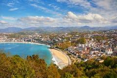 Vue aérienne de San Sebastian Donostia, Espagne photos stock