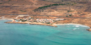 Vue aérienne de Santa Maria en île de sel Cap Vert - Cabo Verde Images libres de droits