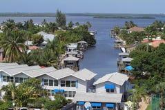 Vue aérienne de secteur de baie de dos de Myers Beach de fort Photos libres de droits
