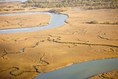 vue aérienne de sel de marais Image stock