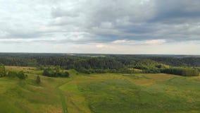 Vue aérienne de site archéologique de Kernave banque de vidéos