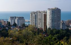 Vue aérienne de Sotchi sur le fond de la mer, Russie Photos libres de droits