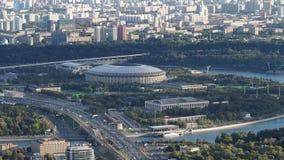 Vue aérienne de stade d'arène de Luzhniki à Moscou dans la soirée d'automne banque de vidéos