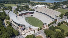 Vue aérienne de stade de Frank Howard Field At Clemson Memorial Images libres de droits
