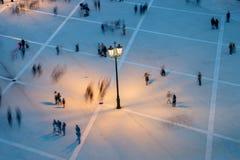 Vue aérienne de tache floue de mouvement de personnes Photographie stock libre de droits