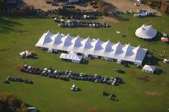 Vue aérienne de tente d'événement au Vermont. Photo stock