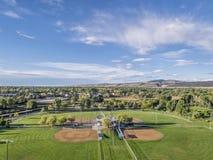Vue aérienne de terrains de base-ball photos libres de droits