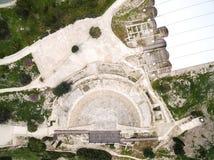 Vue aérienne de théâtre antique de Kourion photo libre de droits