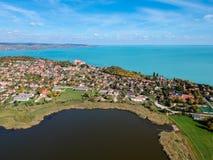 Vue aérienne de Tihany chez le Lac Balaton Photo libre de droits