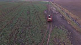 Vue aérienne de tracteur travaillant aux champs dans 4K banque de vidéos