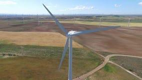 Vue aérienne de turbine de vent banque de vidéos