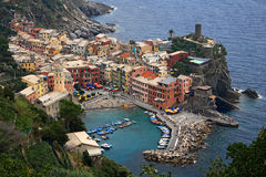 Vue aérienne de Vernazza Photographie stock libre de droits