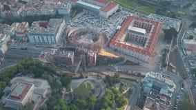 Vue aérienne de vieille arène et d'université polytechnique de Carthagène, Espagne banque de vidéos