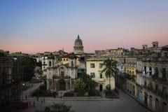 Vue aérienne de vieille La Havane et du dôme de capitol Photo libre de droits