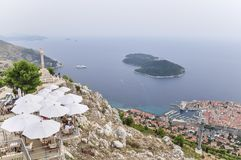 Vue aérienne de vieille ville de Dubrovnik en Croatie Photo libre de droits