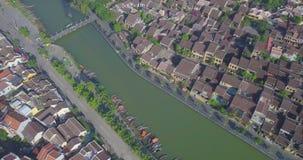 Vue aérienne de vieille ville de Hoi An ou de ville antique de Hoian clips vidéos