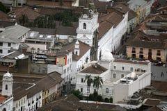 Vue aérienne de vieille ville de Quito Photo stock