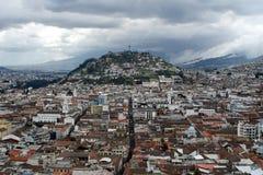 Vue aérienne de vieille ville, Quito, Equateur Photo stock