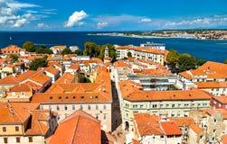 Vue aérienne de vieille ville de Zadar en Croatie photographie stock libre de droits