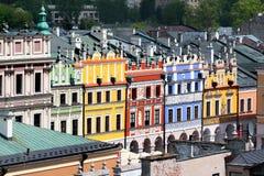 Vue aérienne de vieille ville de Zamosc, Pologne Photos stock