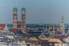 Vue aérienne de vieux secteur de ville à Munich Photo stock