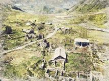 Vue aérienne de village de Truso près de la ville de Kazbegi dans le bâti illustration de vecteur