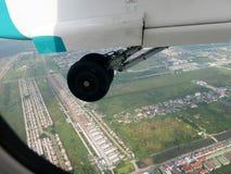Vue aérienne de ville de Bangkok du vol de propulseur de jumeau d'Airbus Photo stock