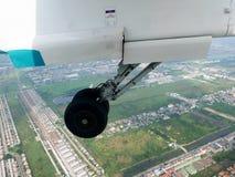 Vue aérienne de ville de Bangkok du vol de propulseur de jumeau d'Airbus Images libres de droits
