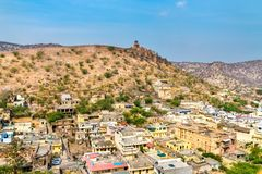 Vue aérienne de ville d'Amer près de Jaipur, Inde Photo stock