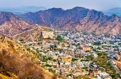 Vue aérienne de ville d'Amer près de Jaipur, Inde Photo libre de droits