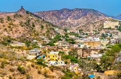 Vue aérienne de ville d'Amer près de Jaipur, Inde Image libre de droits