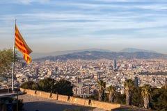 Vue aérienne de ville de Barcelone Image libre de droits