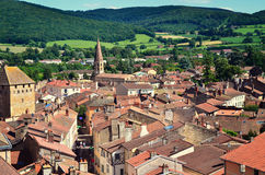 Vue aérienne de ville de Cluny en France, Bourgogne Photos libres de droits
