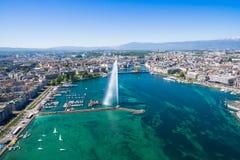 Vue aérienne de ville de Genève - Suisse Photo libre de droits