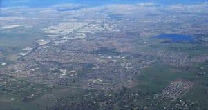 Vue aérienne de ville de Melbourne avec des palétuviers Photos libres de droits