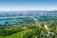 Vue aérienne de ville de Vienne, Autriche images libres de droits