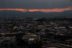 Vue aérienne de ville de Hirosaki sur le lever de soleil images libres de droits