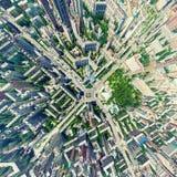 Vue aérienne de ville Horizontal urbain Tir d'hélicoptère Image panoramique photographie stock libre de droits