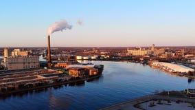 Vue aérienne de ville Paysage urbain industriel Milwaukee, le Wisconsin, Images libres de droits