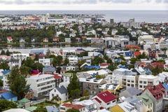 Vue aérienne de ville de Reykjavik, Islande photographie stock libre de droits