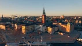 Vue aérienne de ville de Stockholm clips vidéos