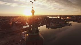 Vue aérienne de ville de Stockholm banque de vidéos
