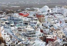 Vue aérienne de ville de Thira sur l'île de Santorini, Cyclades, Grèce photo libre de droits