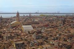 Vue aérienne de ville de Venise de la tour de cloche La rue marque le grand dos images libres de droits