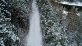 Vue aérienne de voiture se déplaçant la forêt d'hiver clips vidéos