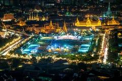 Vue aérienne de Wat Phra Kaew dans la nuit, Bangkok, Thaïlande Bangko Photographie stock libre de droits