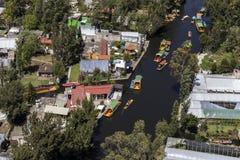 Vue aérienne de xochimilco photographie stock libre de droits