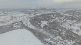 Vue aérienne de zone industrielle de rivière de Moskva banque de vidéos