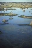 Vue aérienne, delta d'Okavango, Botswana Image stock